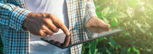 Image of man viewing tablet: FoodThink Pillars of Trust Build Consumer Trust