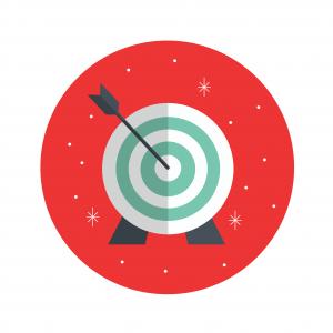 Holiday themed arrow in bullseye