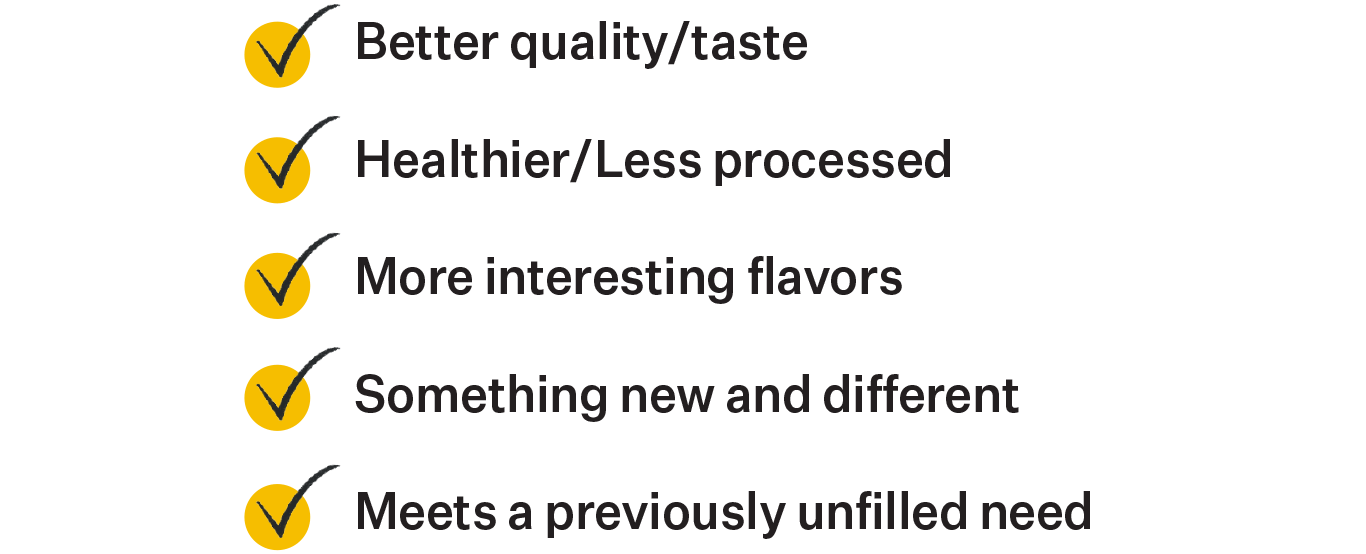 Better quality/taste Healthier/less processed More interesting flavors Something new and different Meets a previously unfilled need