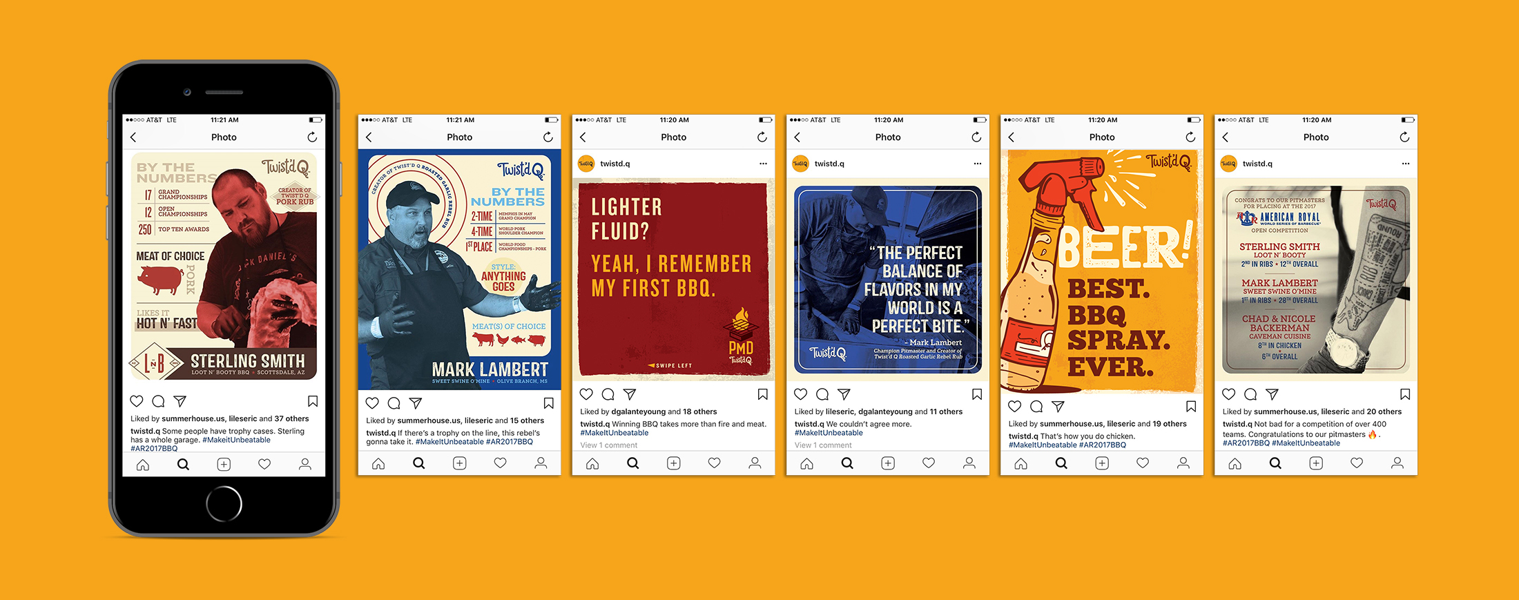 Six different social posts for for Twist'd Q featuring pitmasters, events and tips for grilling.