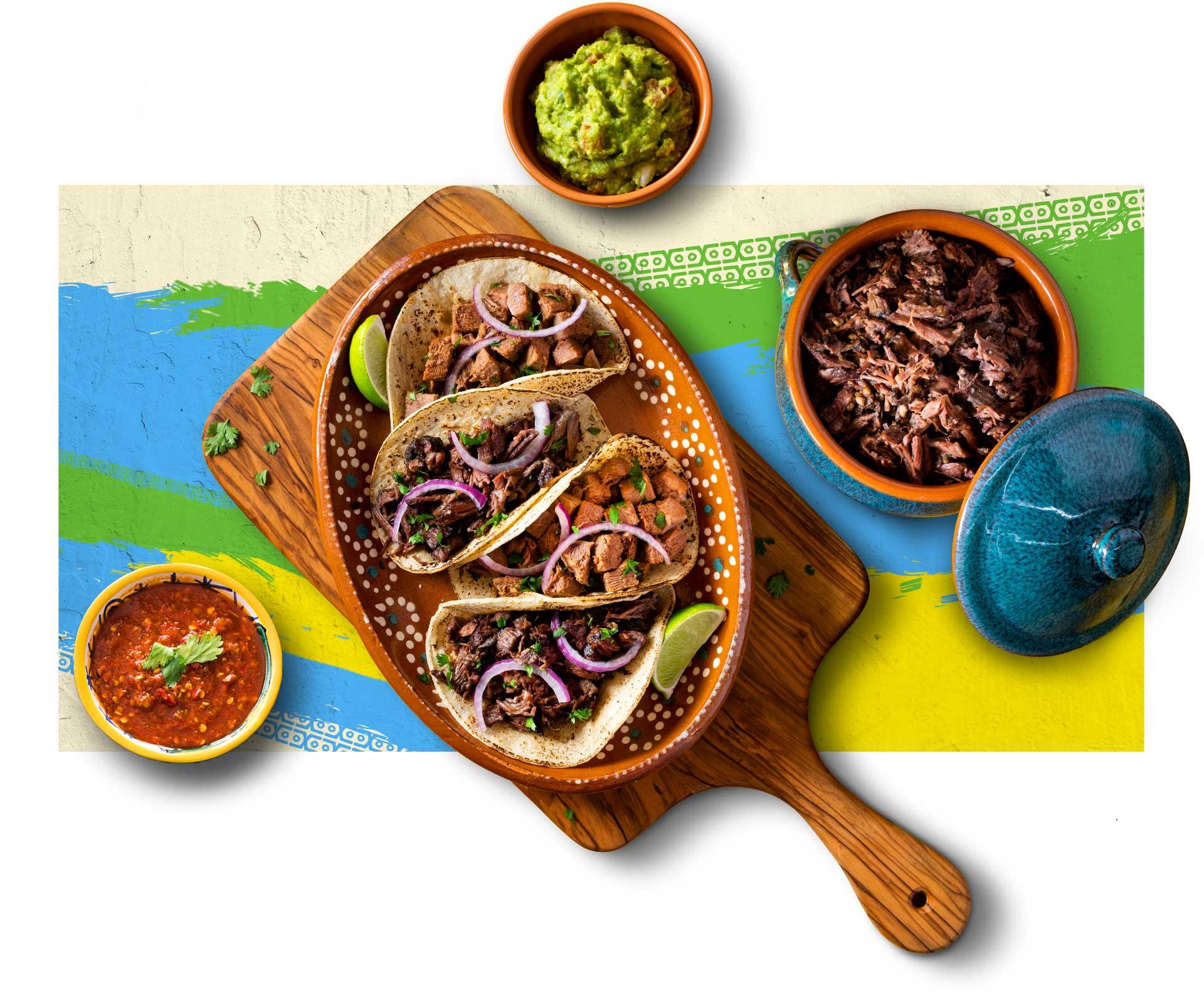 Overhead image of barbacoa tacos