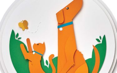 Cut paper illustration of cat and dog