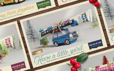 Array of SnowPops Holiday Posters featuring a tiny car-shaped ornament with a frozen SnowPop strapped to its top and the headline of Have a little spirit.