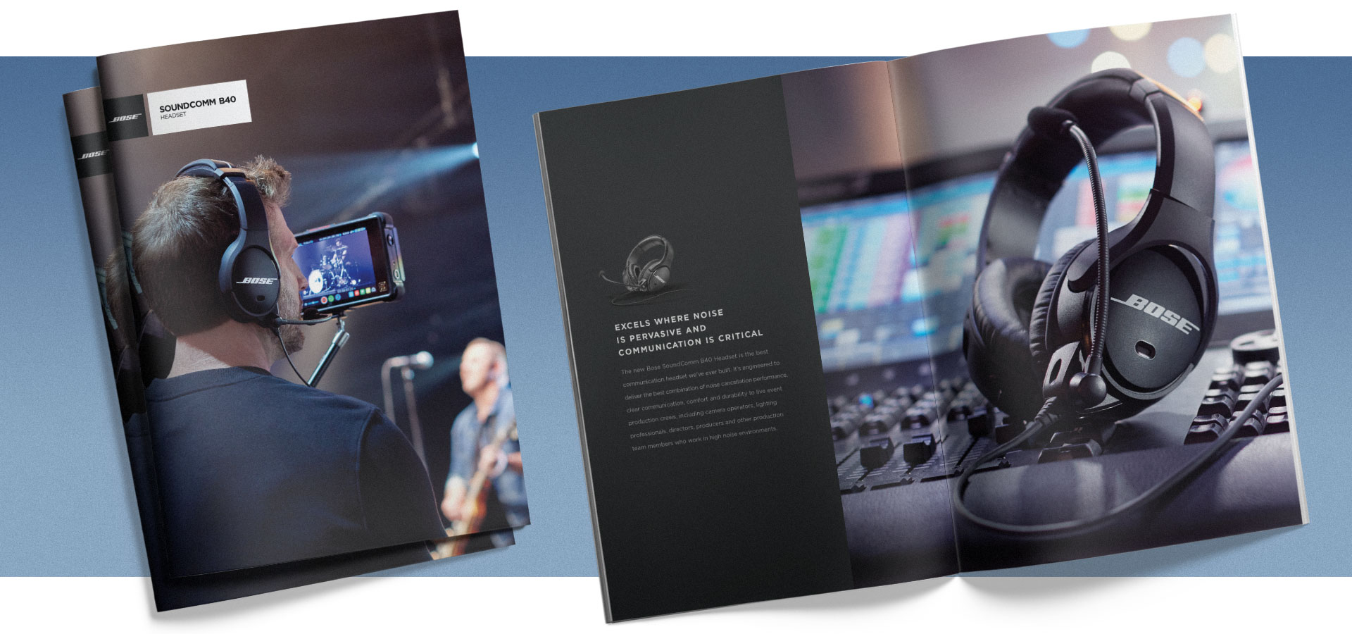 Bose SoundComm B40 product brochures stacked. Third brochure is open, highlighting a spread.
