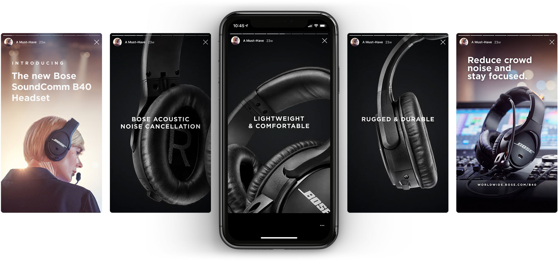 Phone mockup example of a Bose SoundComm B40 Instagram Story