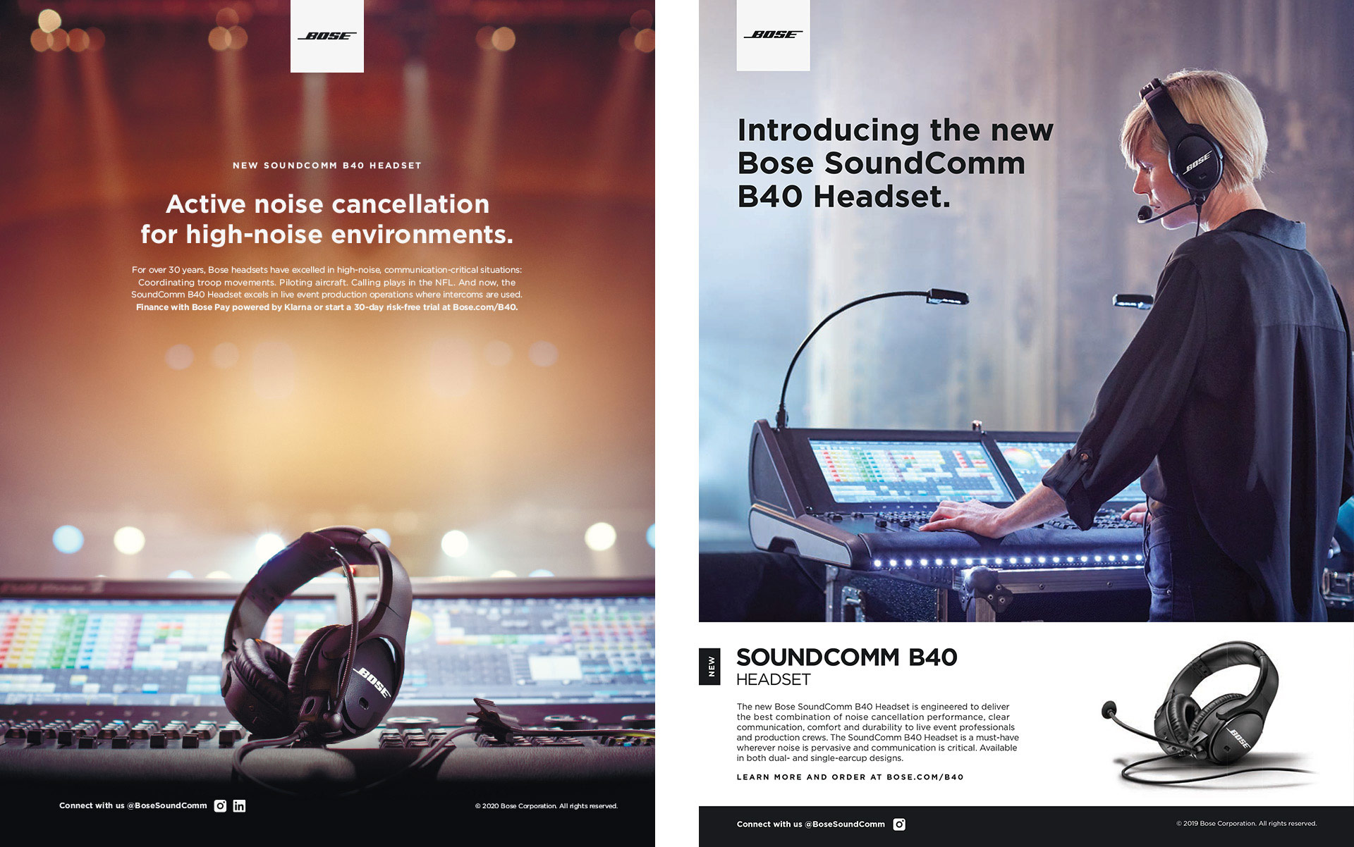 Two Bose SoundComm B40 print ad examples.