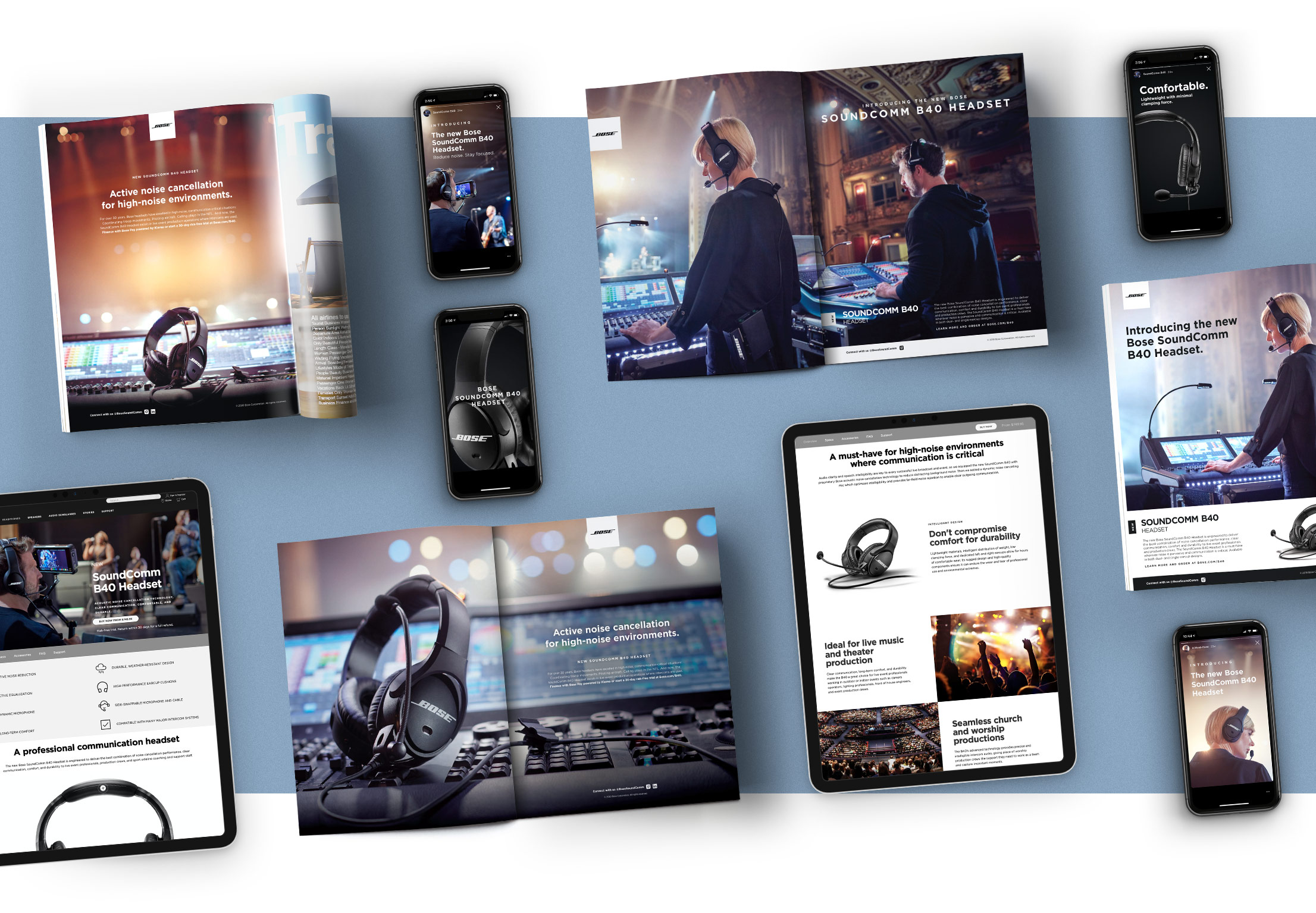 Collage of Bose SoundComm B40 advertising examples, including print and digital.