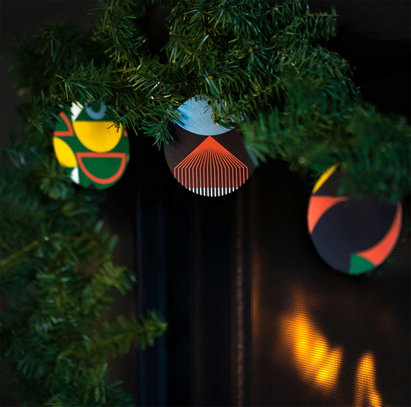 Signal Theory Holiday Mailer Coasters as Garland Ornaments