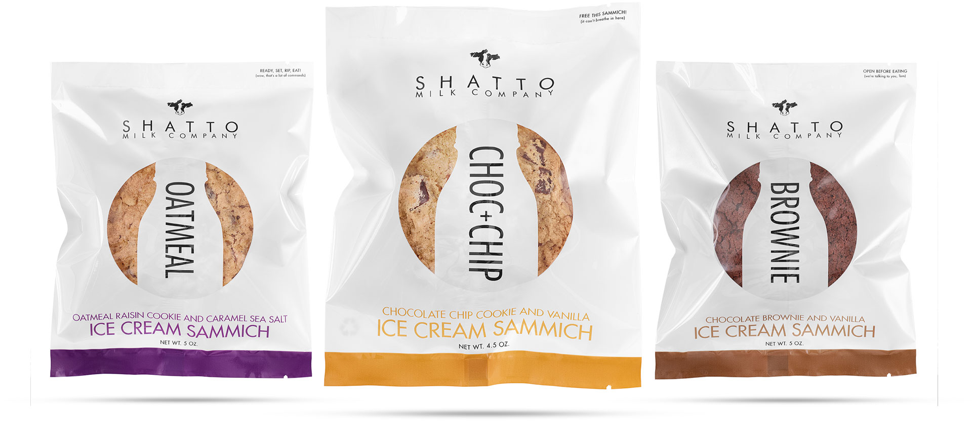 Three packages of Shatto Milk Ice Cream Sammiches. Oatmeal, Choc + Chip and Brownie flavors.