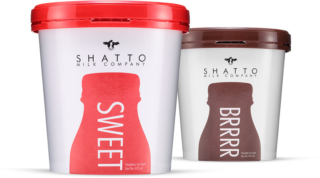 """Two cartons of Shatto Milk Ice Cream with large lettering that says """"SWEET"""" on one and """"BRRRR"""" on the other."""