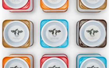 Overhead view of Shatto Milk Flavorizer Tins arranged in a grid