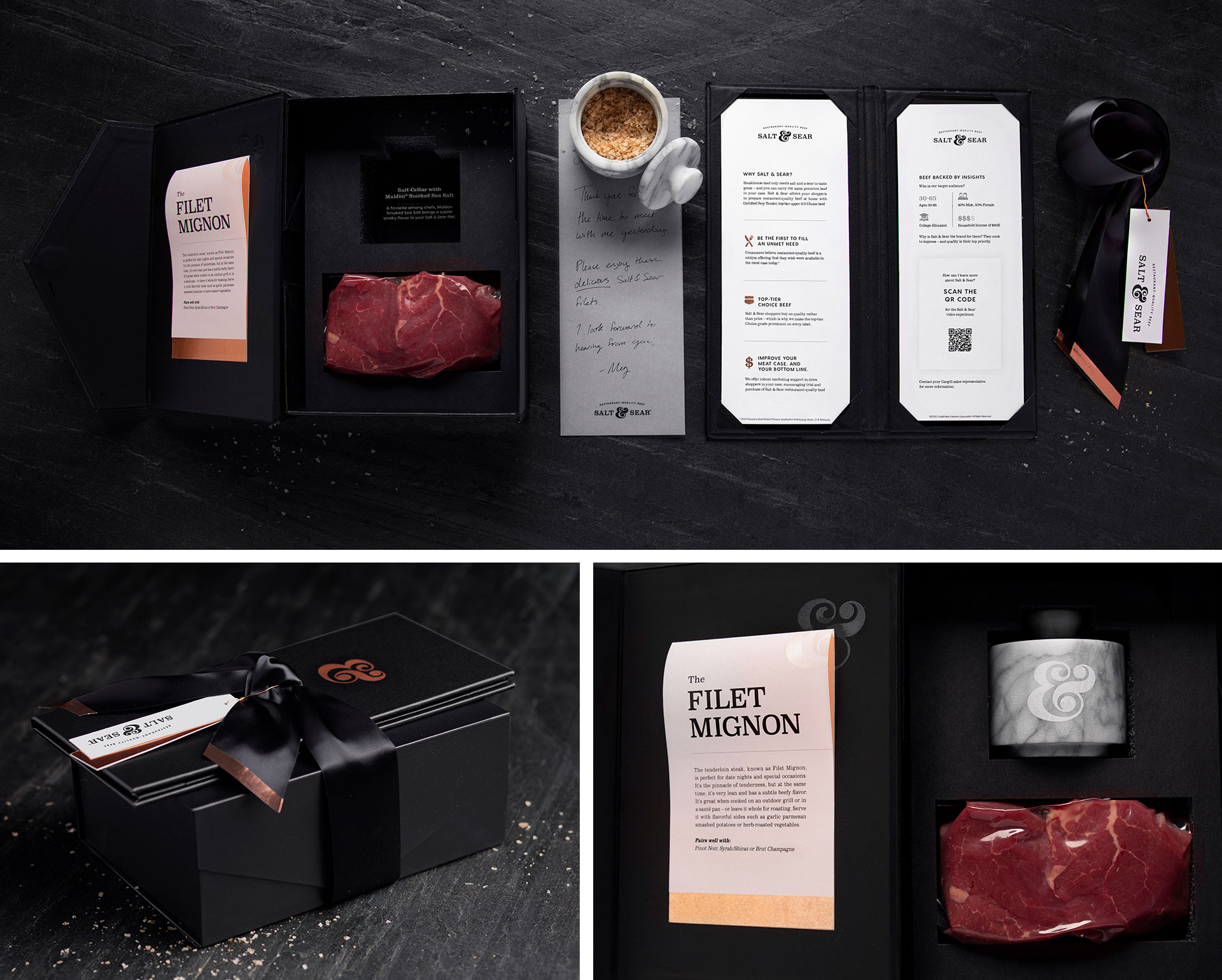 Decorative elements of the Salt & Sear branded gift box.