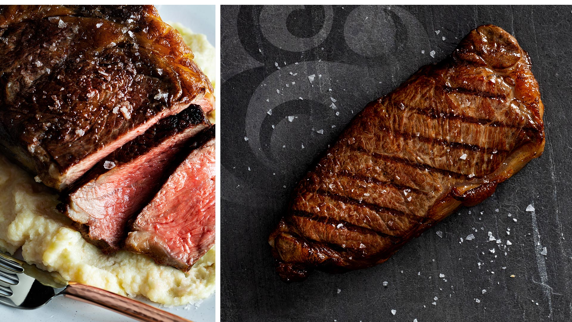 Premium ribeye and strip steaks.