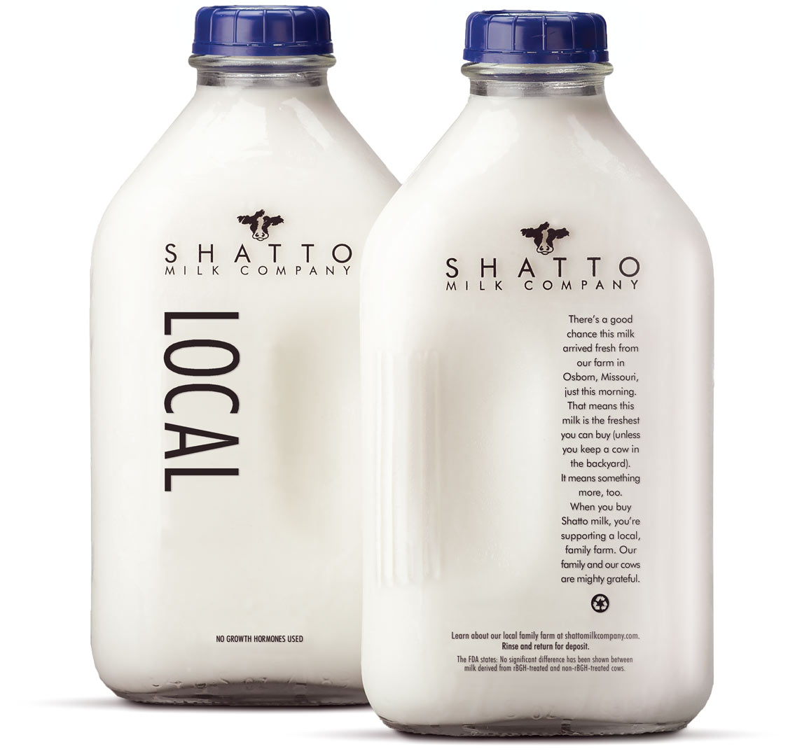 "Front and back of half gallon of Shatto Milk with ""LOCAL"" in large type imprinted."