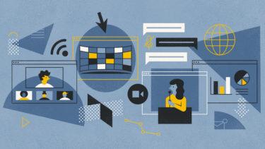 people using virtual meet technology illustration
