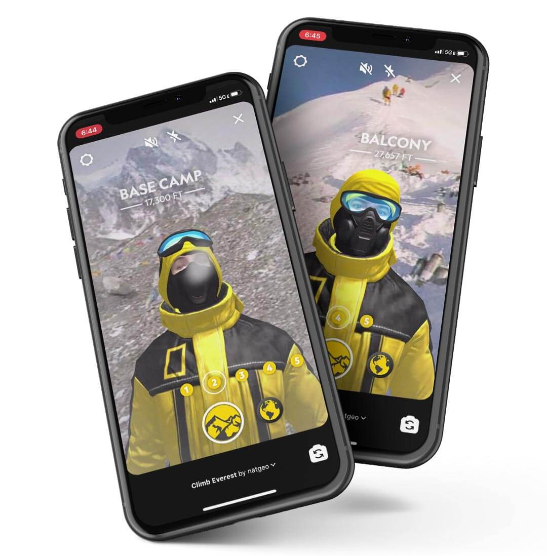 Two iPhones showing scenes from Everest Expedition AR Filter