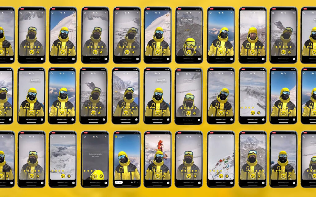 Dozens of iPhone screens showing the National Geographic Everest Expedition AR filter